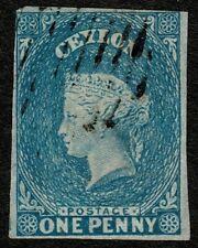 Ceylon 1857 SG2a 1d Blue Very Fine Used Cat. £80.00