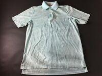 Peter Millar Crown Ease Mens Blue Striped Short Sleeve Polo Shirt Size Medium