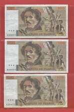 Lot de 3 x 100 FRANCS EUGENE  DELACROIX de 1986 ALPHABETS Y.103  B.104  F.104