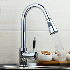 360°Swivel Single Hole Kitchen Basin Sink Faucet Pull Out Spray Chrome Mixer Tap