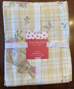 "NWT Isaac Mizrahi Tablecloth  Bunny Garden Yellow Floral  60"" x 120""  Cotton"
