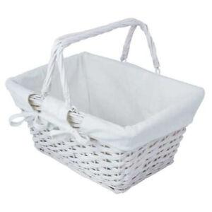JVL White Split Willow Shopping Storage Basket with Lining