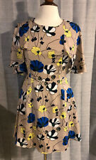 Womens DAHLIA Beige Blue Yellow Floral Ruffle Dress ~ Small (J8)