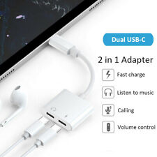 Type C to Dual USB C Jack Audio Adapter Charger Cable For Samsung Note 10 Plus