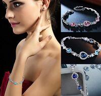 Ocean Herz Kristall Strass Damen Armkette Armband Armreif Schmuck Geschenk Mode