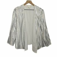 Chico's Silver Sequins Long Sleeve Open Front Blazer Jacket Womens 1, Medium 8