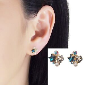 Swarovski Clip On Blue Star Rhinestone Crystal Pearl Invisible Stud Earrings