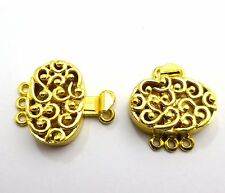 2 PCS MULTI STRAND BOX CLASP 3 STRANDS 22MM 18K GOLD PLATED#B522