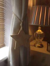 Pair Of Handmade Natural Star Curtain Tie Backs With Jute Rope Ties