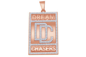 """2Ct Diamond Simulant """"DREAM CHASERS"""" Tag Charm 14K Rose Gold On Sterling"""