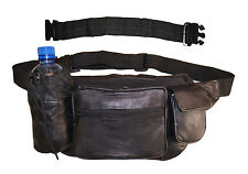 """Leather Concealed Fanny Pack Travel Waist Bag Pouch Bottle Holder with 18"""" Ext"""