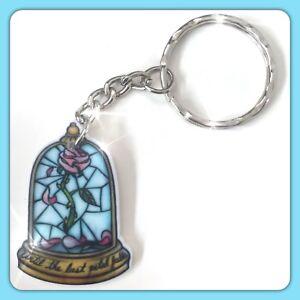 Disney Beauty And The Beast Enchanted Rose Theme Handmade Keyring Bag Charm #22