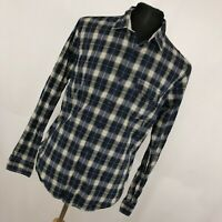 Brooks Brothers L Large Shirt Blue Gray Plaid Button Down Front Mens Long Slv V7