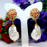 NATURAL WHITE BAROQUE PEARL RUBY & EMERALD TIGER EARRINGS 925 STERLING SILVER