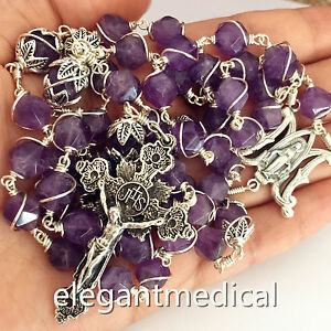 Sterling Silver Wire Wrap  Amethyst Beads Catholic Rosary Cross NECKLACE BOX