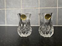 VINTAGE Cristal d'Arques Set Of 2 Lead Crystal Posy Vases GREAT CONDITION