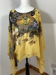 Poncho Cape Top Size X Large Ochre Mustard Floral Chiffon Overlay Slit Shoulder