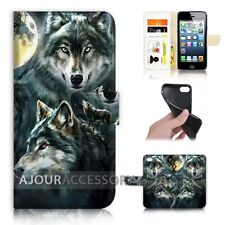 ( For iPhone 6 / 6S ) Wallet Flip Case Cover AJ31043 Night Wolf