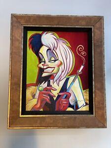 Disney Fine Art Cruella De Vil Tim Rogerson Acrylic On Canvas Framed LE  Framed