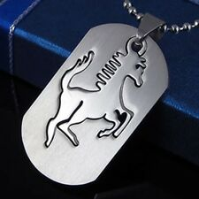 Stainless Steel Racing Car Horse Pony Gypsy Stud Dog Tag Charm Pendant Necklace