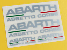 FIAT 'ABARTH ASSETTO CORSE' logo stickers metallic ink on clear vinyl FIAT 500