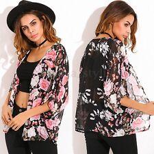UK 8-26 ZANZEA Women Summer Floral Sheer Kimono Top Cardigan Coat Cape Plus Size