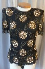 Vintage Lady 12 100% Silk Blouse Top Woman L Black Bead Sequin Gold Large Stenay