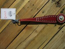 SILVER SHOW WITHER STRAP HORSE BREASTCOLLAR HELPER RED LEATHER BARREL RACER TACK