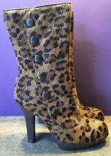 a0fde47b13329 NEW Sam Edelman Brown Women s Leopard Print Calf Hair High Heel Boots Sz ...