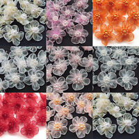 40pcs U pick Organza Ribbon Flowers Bows w/Beads Appliques Wedding Craft