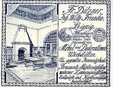 Fr.Dilzner Leipzig MÖBEL-& DEKORATIONEN WERKSTÄTTEN Historische Reklame von 1908