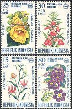 Indonesia 1966 MIRTO/GIGLIO/DISASTRO fondo/Fiori/Piante/NATURA SET 4 V (n41122)