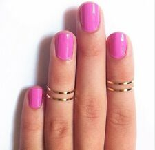 5PC/Set US size 4 JT Urban stack Plain Cute Above Knuckle Band Midi Ring gold