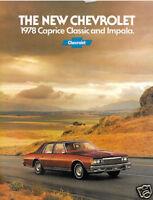 1978 Chevrolet Caprice and Impala 16-page Original Car Dealer Sales Brochure