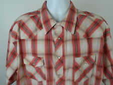 Wrangler Western Shirts Button Up Short Sleeve Plaid Size 19 TALL Cotton Blend