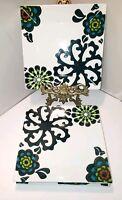 """Colin Cowie 2 Plates MOD SQUARE PLATES 7"""" Floral appetizer dessert retro flowers"""