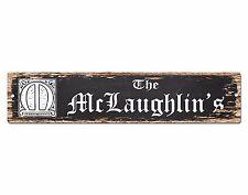 SPFN0392 The MCLAUGHLIN'S Family Name Street Chic Sign Home Decor Gift Ideas