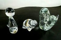 3 European Crystal Art Glass Figurines Royal Krona Seal Sweden Toscany Snail