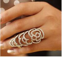 Hot Design Charm Silver Flower Rhinestone Full Finger Armor Hollow Out Ring 7#