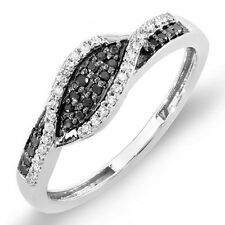 10K White Gold Diamond Ladies Cocktail Right Hand Ring 1/4 Ct (Size 7.5)