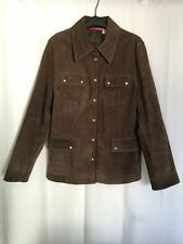 Alain Manoukian Womens Jacket 14 L Pigskin Suede Leather Brown Military 1J7