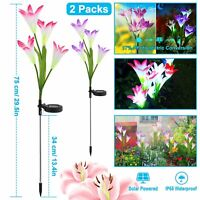 2x Solar Garden Lights LED Lily Flowers Multi-Color For Outdoor Patio Decoration