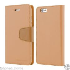 Genuine Mercury Goospery Light Brown Leather Flip Case Cover for iPhone 6/6s