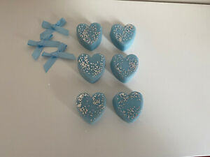 Highly Scented Handmade Wax Melts - 6 x Glittery Blue Hearts