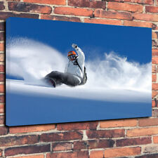 "Snowboarder Printed Box Canvas Picture A1.30""x20""Deep 30mm Frame Snow Powder"