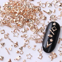 Rose Gold Rivet 3D Nail Studs Star Shell Round  Manicure Decoration Tips