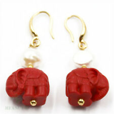 Cinnabar Elephant 3mm White Pearl 18K Ear Drop Hook Cultured Real Classic Earbob