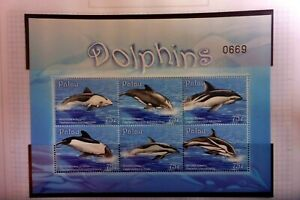 PALAU   DOLPHINS MUH  MINI SHEET WITH SET OF 4 STAMPS