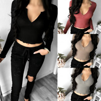 Women Ladies Deep V Neck Crop Top Long Sleeve Shirt Blouse Sweater T-shirt