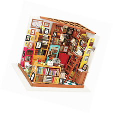 Robotime DIY- Library Wooden Dollhouse Kits- Books House Woodcraft Construction